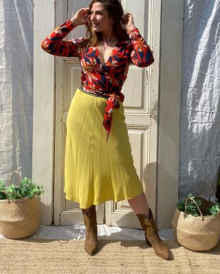 Spanisch vibes 🇪🇸🌴 Lolly Laundry rok mt S-M € 39 Elastiek met gouden draadje  Sissy boy overslag blouse mt L € 27,50 cotton ☀️🕶